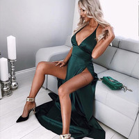 high waist sexy satin double slit dresses evening party halter maxi dresses green red pink night club women backless long dress
