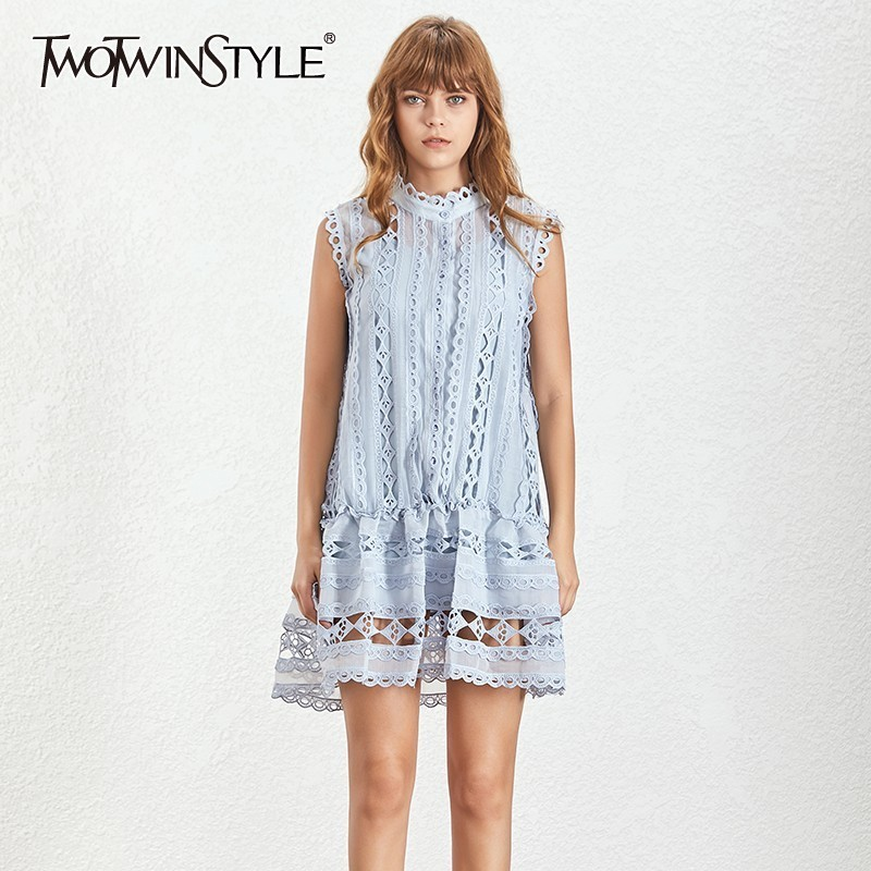 TWOTWINSTYLE Casual Off Shoulder Hollow Out Dress For Women O Neck Sleeveless Loose Mini Dresses Female
