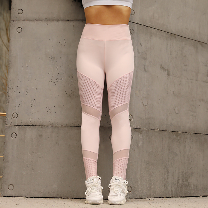 CHRLEISURE Mesh Fitness   Leggings   Ankle-Length Stitching Hollow Sold Soft Pants Slim Elasticity Push Up Lady's   Legging   Women