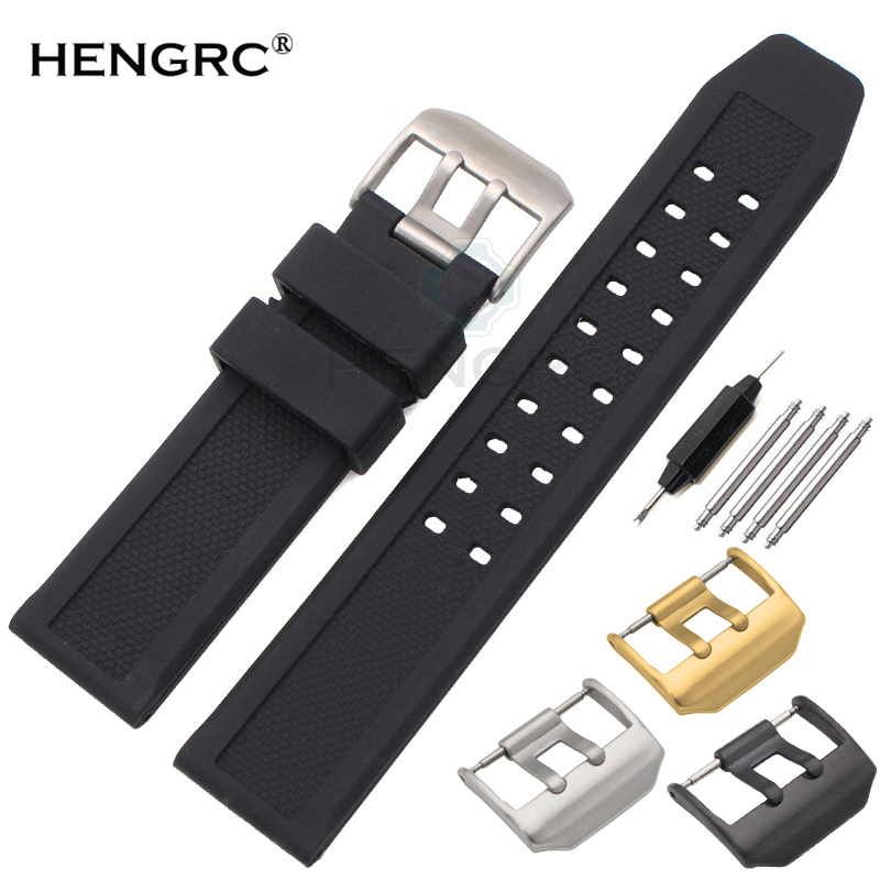 Soft Rubber Watchbands Men Black 23mm Sport Diving Watch Band Strap Silver Black Metal Pin Buckle For Luminox Accessories