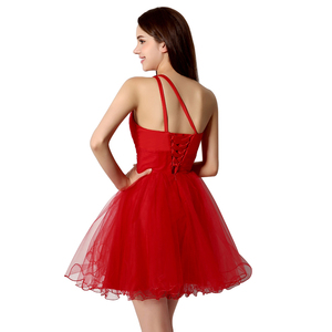 Image 2 - Sexy One Shoulder Short Graduation Dresses Beading Fashion Crystal Red Tulle Homecoming Cocktail Gowns vestidos de fiesta OS230