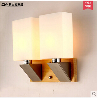 Free shipping  japanese style balcony corridor solid wood oak stair  bedroom wall lamp double head free shipping japanese animation cool gintama sakata gintoki