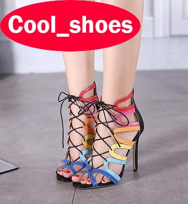 Brand New High Heels Plus Size Sexy Peep Toe Gladiator Pumps Lace Up Summer Sandals Cut Outs Runway Party Dress Shoes Women 665 zorssar brand 2017 high quality sexy summer womens sandals peep toe high heels ladies wedding party shoes plus size 34 43