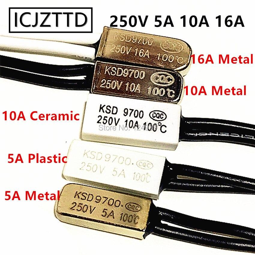 Термостат KSD9700, 5 А, 10 А, 16 А, 250 В, переключатель контроля температуры, нормально, закрытый, открытый, NC NO 40-150 градусов