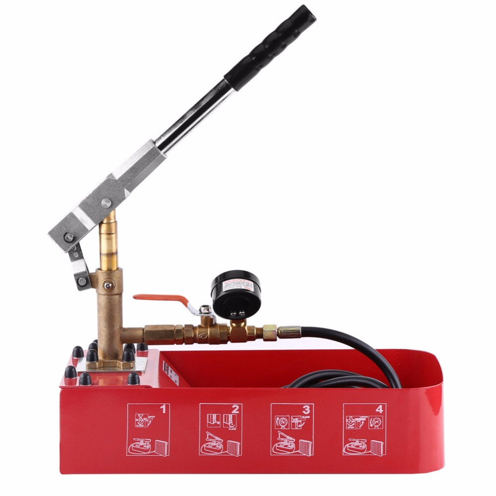 Pressure Test Pump Hand Pump Manual 5MPa Pressure Test Pump w Hose for Testing Water Pipe