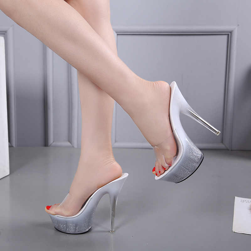 a1cfae162 ... Shoes Woman New 2018 Summer Elegant High Heels 14cm Fine Transparent Glass  Slipper Shoes Heavy- ...