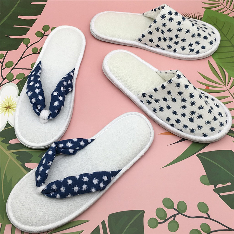 2019 Woman Polka Dot Print Indoor Home Slippers Comfort Guest Hotel Floor Home Slippers Women Casual Soft Flip Flop #40