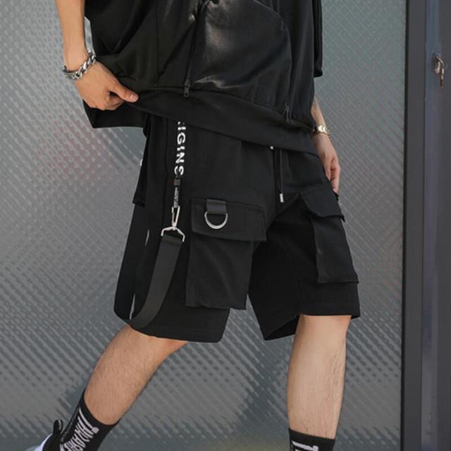 Erkekler rahat çok cepler şeritler hip hop punk kargo şort streetwear mens hiphop kaykay kısa pantolon bermuda masculina