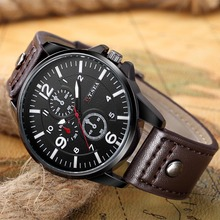 New Business Watches Men Fashion Casual Sport Quartz Watch Military Male PU Leather Wristwatch horloges mannen montre homme 2018
