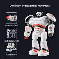 USB Charging Blue Smart Mecha Alpha Remote Control Toy Defense Shooting Programming Sliding Battle Robot Toy Gift