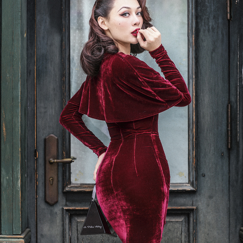 Detail Feedback Questions about 40 le palais vintage 50s velvet wiggle  pencil dress in burgundy elegant vestidos with cape women plus size pinup  dresses ... 841ab7becffd