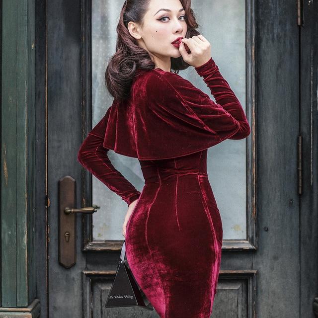 40- le palais vintage 50s velvet wiggle pencil dress in burgundy elegant  vestidos with cape women plus size pinup dresses jurken 23cdab214c14