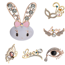 Lovely Full Crystal Animal broches for women rabbit butterfly spider eye mask umbrella Pins And Brooches For Women xmas brooch недорого
