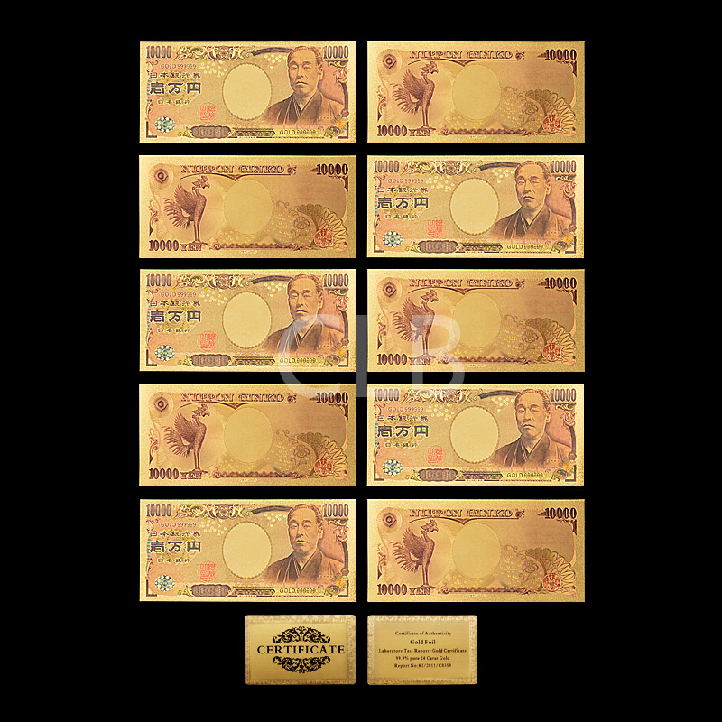 Wholesale Colorful Japan Gold Banknote 10000 Yen Gold Foil Plated ...