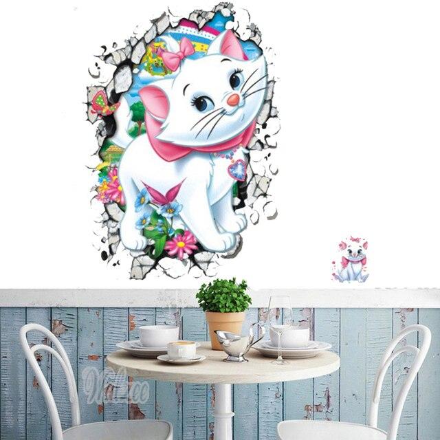 Cute Cat 3D DIY Cartoon Wall Sticker For Kids Baby Girl Room Cartoon White  Cat 3D Part 69