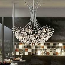 Modern K9 Crystal Chandelier G4 LED Dandelion H80cm Lights Lustre Sitting Room Indoor Decorative Ceiling Lamp Tree Lampshade(China)