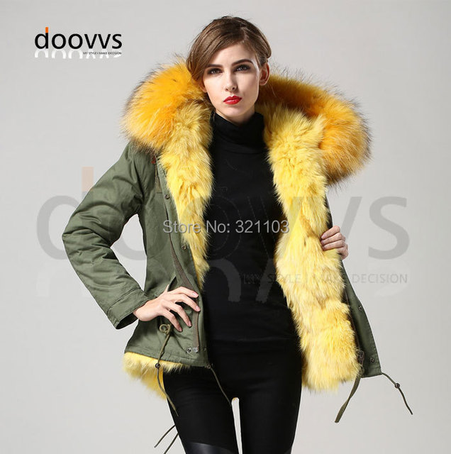 35163879c4c33 2016 Nouveau Chaud Femmes D hiver Survêtement jaune Dames réel renard De  Fourrure Parka À