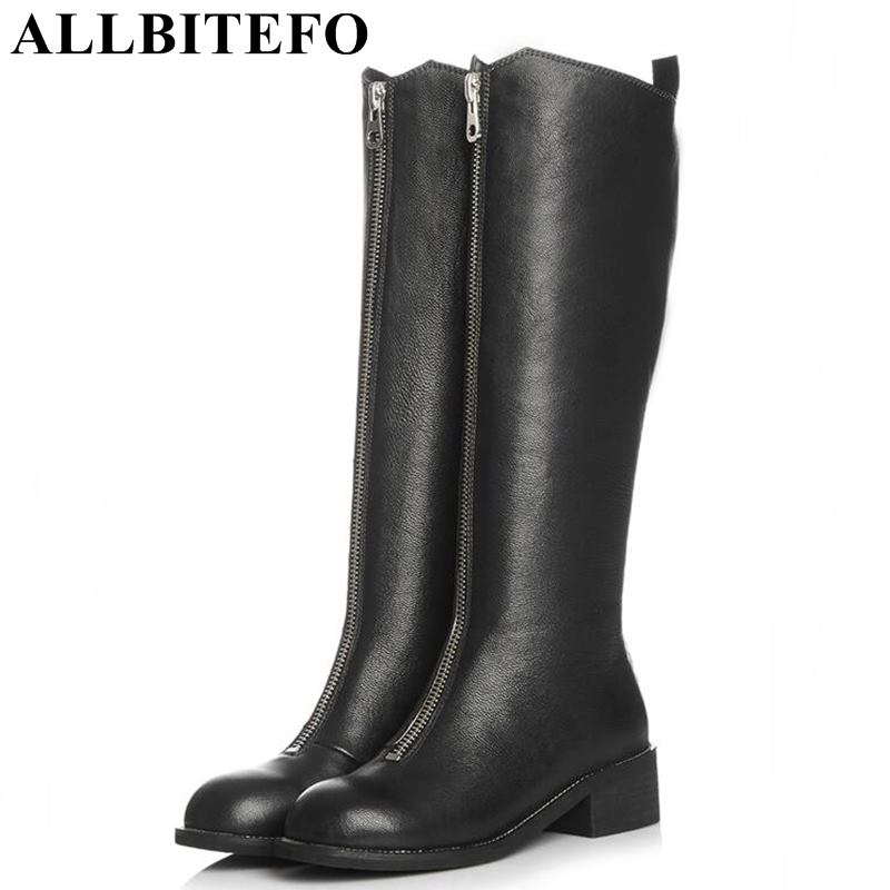 ALLBITEFO natural genuine leather women boots High quality ladies knee high long boots shoes winter fashion thigh high boots allbitefo natural genuine leather women boots high quality winter girls knee high long boots fashion thigh high boots for woman