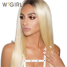 Wigirl Hair T1B/613 Dark Roots Lace Front Human Hair Wigs Pre Plucked 130% Density Remy Blonde Lace Front Wig with Baby Hair(China)