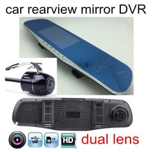 Discount! 4.3 Inch LCD car Rearview DVR Mirror Full HD dual lens include Rearview Camera Video Recorder include rear Camera free shipping