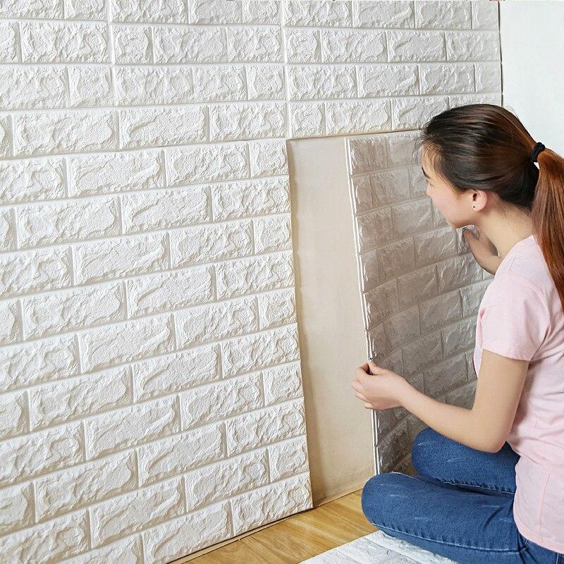 3D Self Adhesive Wall Stickers For Kids Room Bedroom Decor DIY Foam Brick Room Decor Wallpaper Home Decor Living Wall Sticker in Wall Stickers from Home Garden