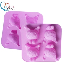HEARTMOVE Cake Design Cartoon Series 4 Hålighet Kuromi Mini Cake Silicone Bakeware Cake Dekorerande Silikon Nonstick Mould 9537