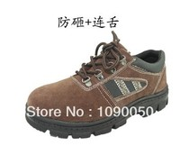 Safety Shoes Suede Steel Toe Cap Covering Genuine Leather Work Shoes Slip Resistant Oil Breathable Labor