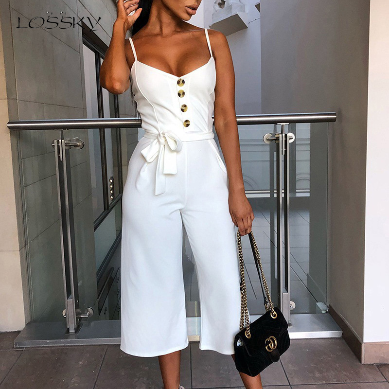 Lossky Summer Jumpsuit Women Sexy Halter Sleeveless Straps Long Jumpsuit Casual Lace Up Button Wide Leg Overall Jumpsuit Elegant
