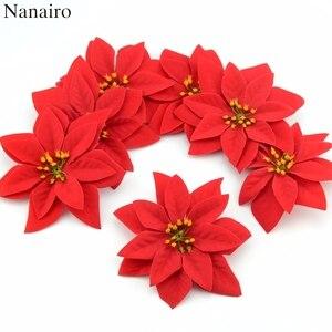 Image 1 - 10 sztuk 14cm flanela duże sztuczne główki kwiatu róży dla domu dekoracje ślubne Scrapbooking choinka bożonarodzeniowa DIY jedwabne kwiaty