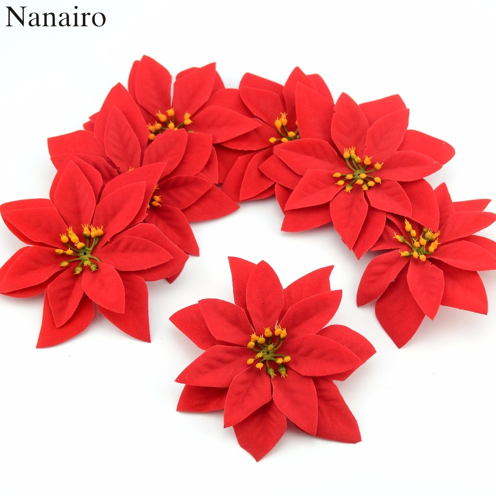 10pcs 14cm Flannel Large Artificial Rose Flower Heads For Home Wedding  Decoration Scrapbooking DIY Christmas Tree Silk Flowers