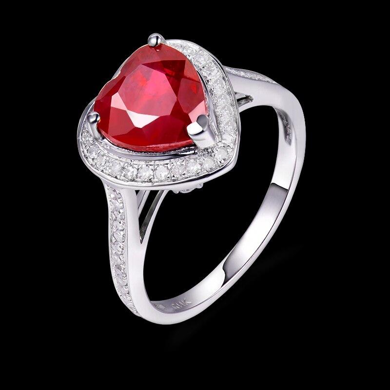017d3e5e127 100% véritable romantique 8x8mm en forme de coeur bague rubis avec 14 K  solide or blanc incrusté anneaux de diamant pour les femmes bijoux dans  Anneaux de ...