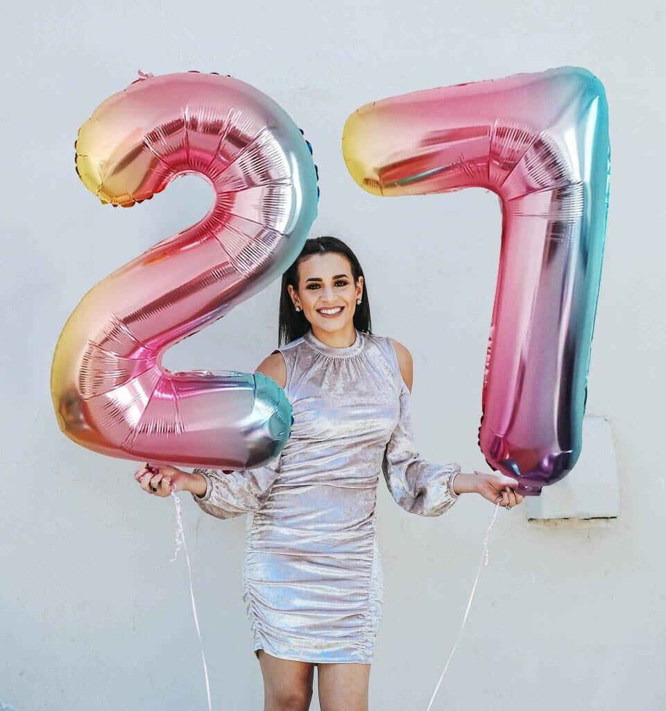 Ballons à feuille pour joyeux anniversaire 32 pouces | 2 pièces, couleur dégradé, chiffres 23, 30, 50, 70 ans, fournitures de fête, ballon pour homme et fille