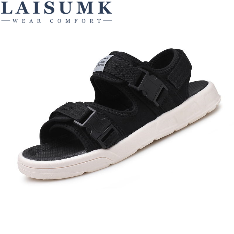 LAISUMK Brand Fashion Men Beach Sandals, High Quality Summer Leather Men Beach Sandals
