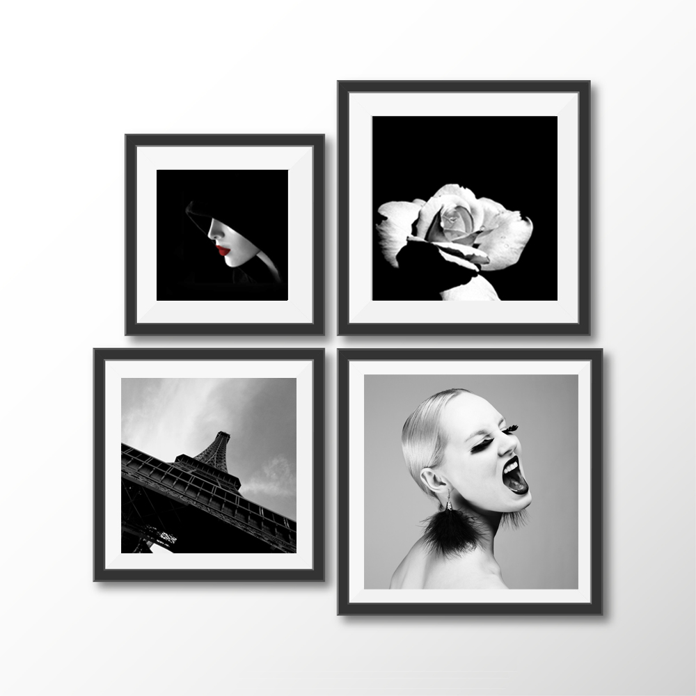 Canvas Print Fashion Girl Lipstick Eiffel Tower Rose Simple Black