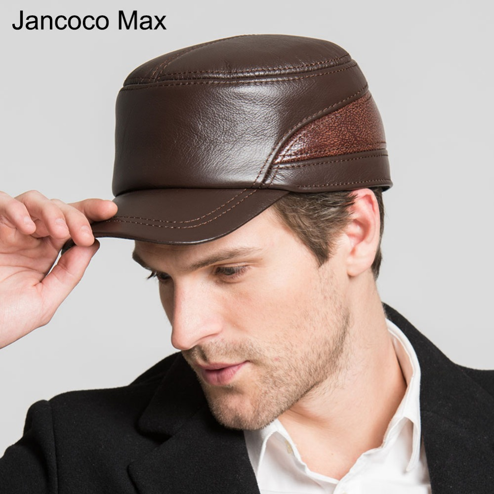 Jancoco Max+ Spring Autumn Winter 2017 Men's Genuine Cowhide Leather Hats Brown & Wine Red Casual Earflap Baseball Caps S3056