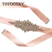 New Arrival Rhinestone Wedding Belt Pearl Dress Crystal Pearls Bridal Sash White Ribbon for Bride
