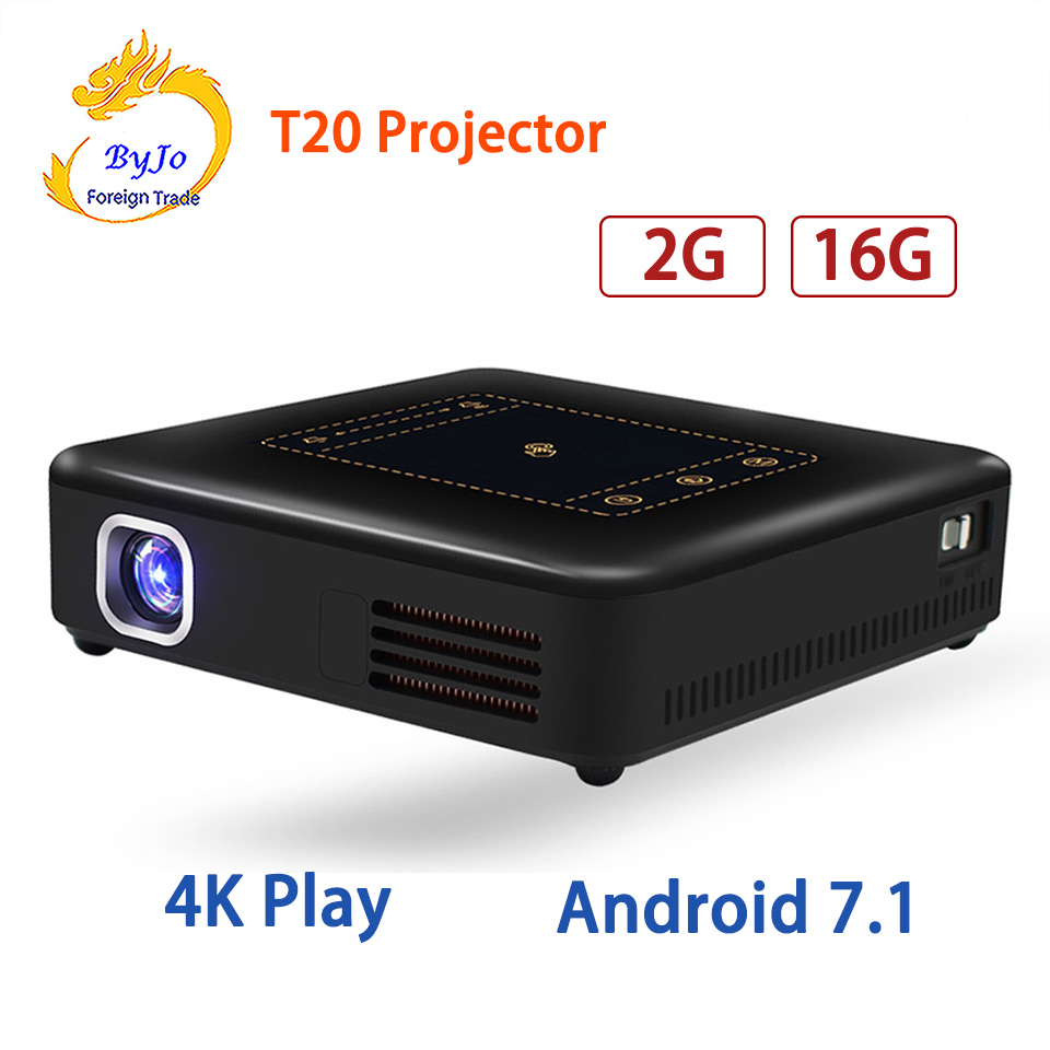 T20 Android 7.1 Projector Pico DLP Projector Touch Pad WIFI Bluetooth Mini Beamer 8000mAh Battery Projetor Home Theater everyone gain a18 projetor celular full hd 3d mini video proyector android projector dlp pico battery projecteur game portatil