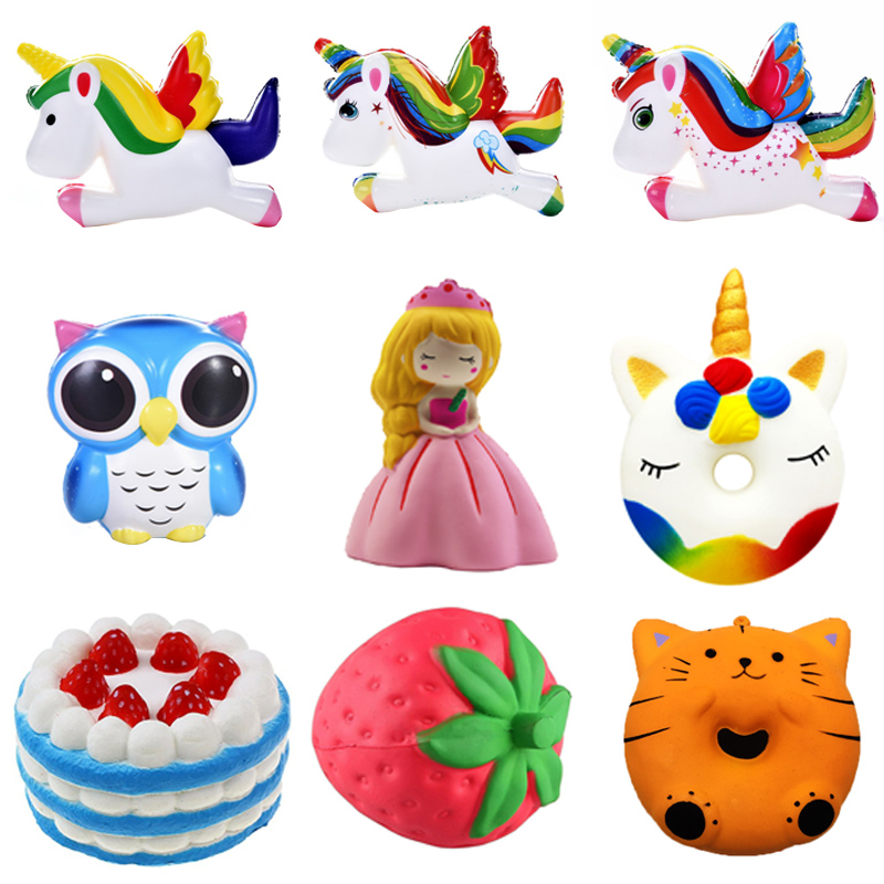 Antistress Squishy Novelty Gag Toys Jumbo Fun Squish Owl Cake Surprise Stress Relief Toys For Children Cute Squeeze Slow Rising