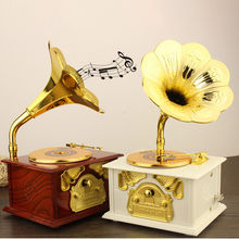 Phonograph Box Christmas Birthday Holiday Gift Music Box Best Gift Table Decor(China)