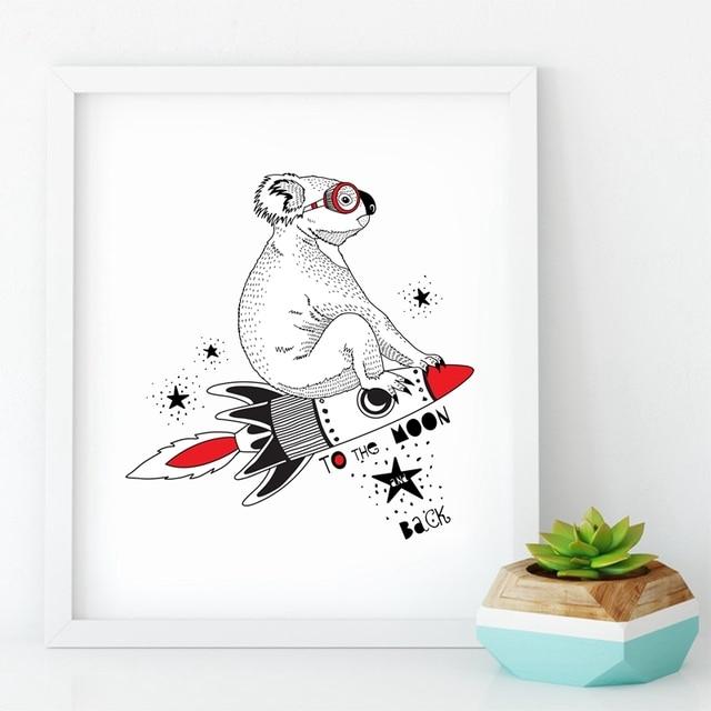 Us 462 49 Offaliexpresscom Mem Eden Official Store üzerinde Güvenilir Prints Pictures Tedarikçilerden Koala üzerinde Uçan Roket Ay Duvar