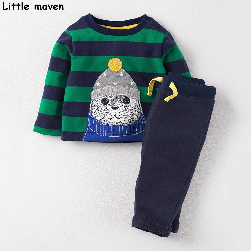Little maven children's clothing sets 2017 new autumn boys Cotton brand long sleeve stripped cat t shirt + solid pants 20136 little maven kids brand clothing 2017 autumn baby girls clothes cotton elephant print girl a line stripped pocket dresses s0275