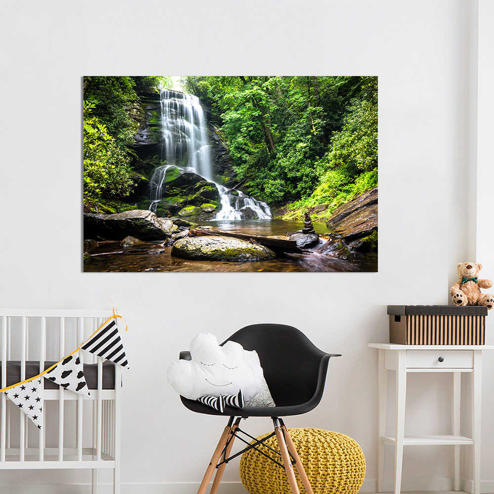 HDARTISAN Canvas Art Waterfall Forest Trees Rocks Stones Landscape Photo Wall Picture For Living Room Home Decor