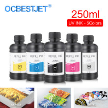 250 Ml 5 Botol/Set LED UV Tinta untuk DX4 DX5 DX6 DX7 Printhead untuk Epson 1390 R1800 R1900 4800 4880 7880 9880 UV Flatbed Printer(China)