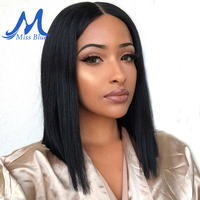 MissBlue Short Lace Front Human Hair Wig Bob Wig Full and Thick For Black Women Natural Color Brazilian Remy Hair Free Shipping