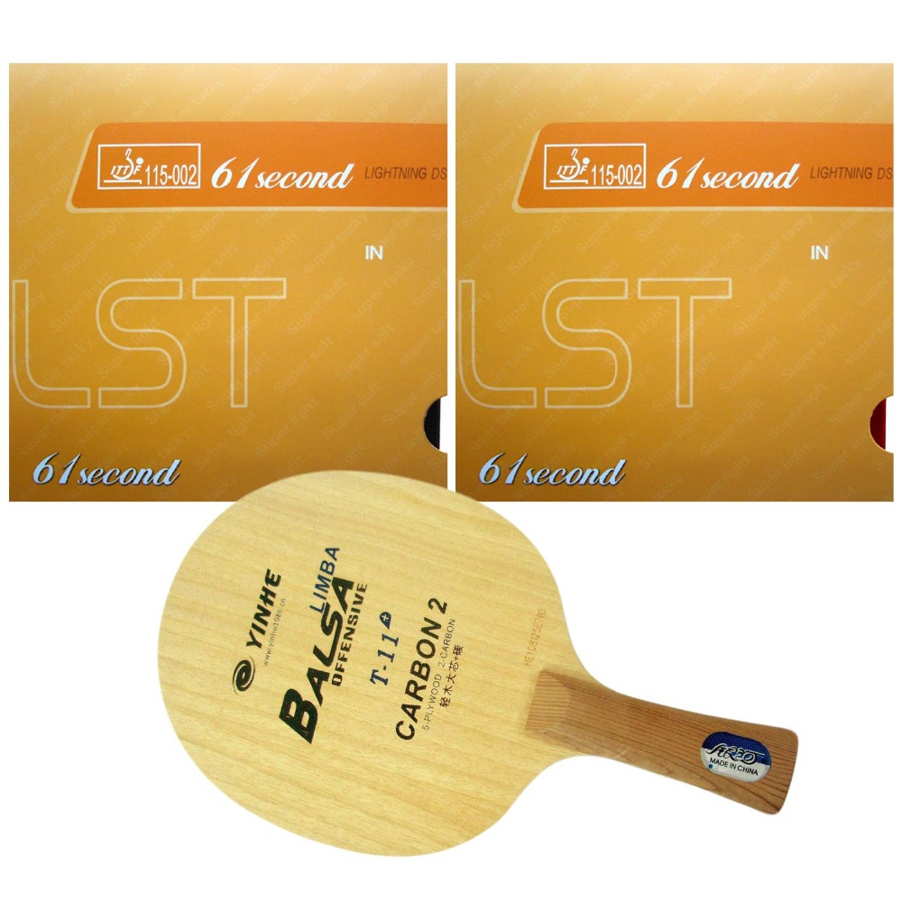 цена на Pro Combo Table Tennis Racket Yinhe Blade T-11+ Long Shakehand FL with 2x 61second Lightning DS LST Table Tennis Rubber