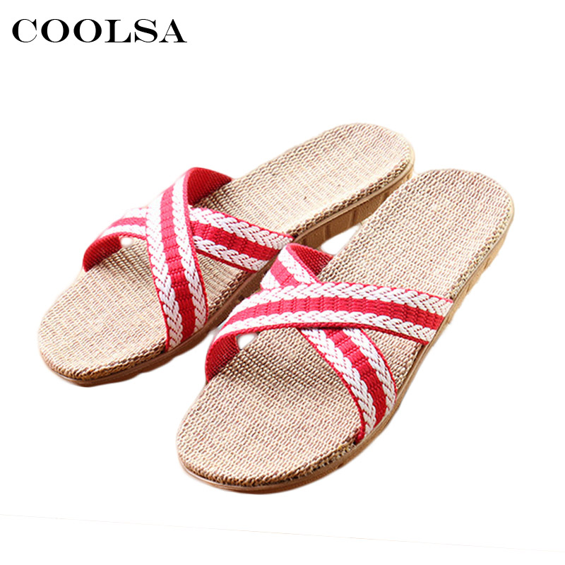 Coolsa Summer Women Linen Flip Flop Cross-tied Ribbon Flax Slippers Flat Non Slip Indoor Slipper Woman Casual Beach Sandals Shoe coolsa new summer linen women slippers fabric eva flat non slip slides linen sandals home slipper lovers casual straw beach shoe page 2