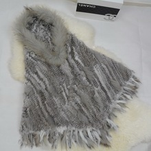 S1201 New 2016 Women Real Rabbit Fur Knitted Poncho Raccoon Dog Fur Collar With Tassel And Hooded Wholesale / Retail