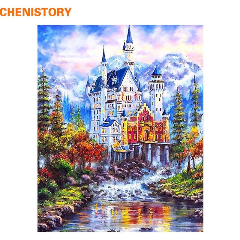 CHENISTORY Märchen Burg DIY Malerei Durch Zahlen Moderne Handgemalte Bilder Auf Leinwand Wand Kunst Wohnkultur Für Dekoration