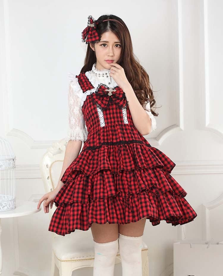 Classic Black and Red Plaid Girl s Jumper Skirt with Layered Ruffles Lolita Dress Free Shipping