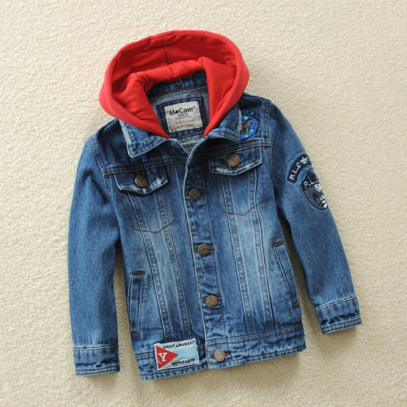 Denim Jackets For Boys Autumn Trench Children's Clothing Hooded Outerwear Windbreaker Baby Kids Jeans Coats Teenage 2-12 Years